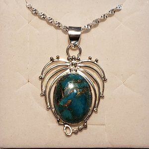 Jewelry - Fancy Mojave Turquoise pendant 15 cts in Plat/925
